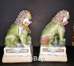 Vintage MCM Mgnificent Grande Paire De Céramique Statues Foo Lion Figurines Hndptd