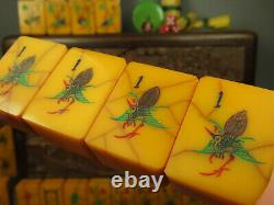 Vintage Mahjong Amber Catalin Crackled Apple Juice Mahjongg 156 Grandes Tuiles Nmjl