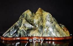 Vintage Serpentine Chinois Grande Montagne De Pierre Table Érudit Espagnol 20.5