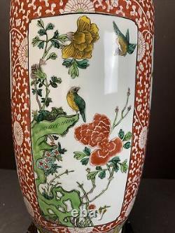 Vtg Antique 20e C. Grand Rose De Chine Famille Avec Vase Porcelaine Stand En Bois