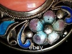 Vtg Antique Chinois Argent Vermeil Cloisonne Floral Grand Cabochon Coral Brooch