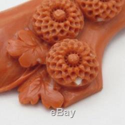 Vtg Antique Large 2,75 Rose Foncé Chinois Sculpté Fleur Pin Corail Broche Momo