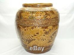 Vtg Dragon Chinois Bowl Jardinière Planteur Grande Poterie Oriental Pot