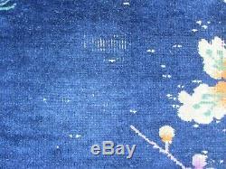Worn Antique Hand Made Art Déco Chinois Bleu Or Laine Grand 291x213cm Tapis